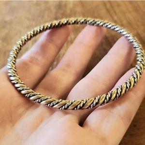 Stunning Vintage Silver & Brass Bangle Bracelet